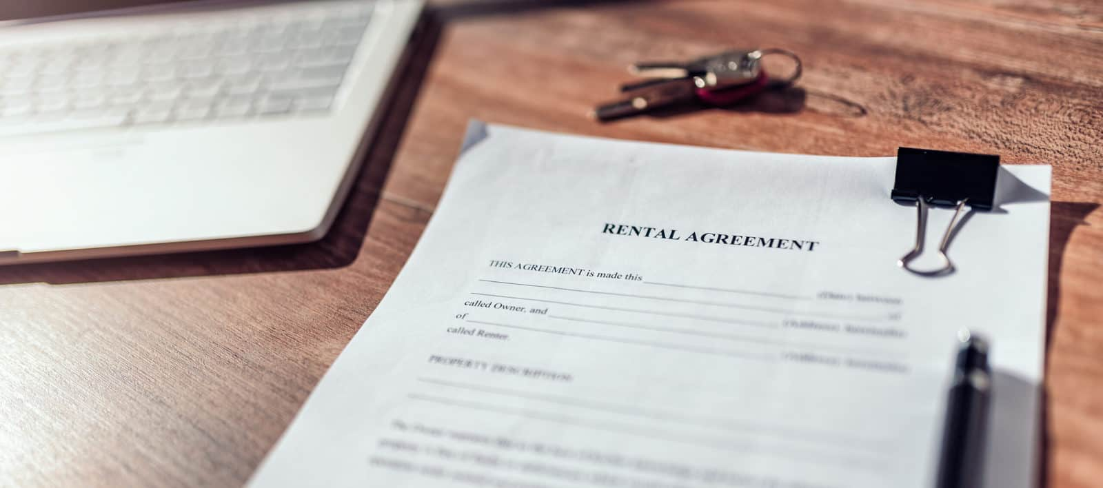 Rental agreement contract on the desk