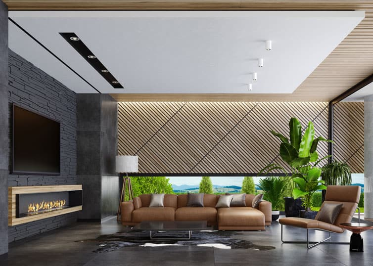 Luxury home living room decorated with big, bold plants