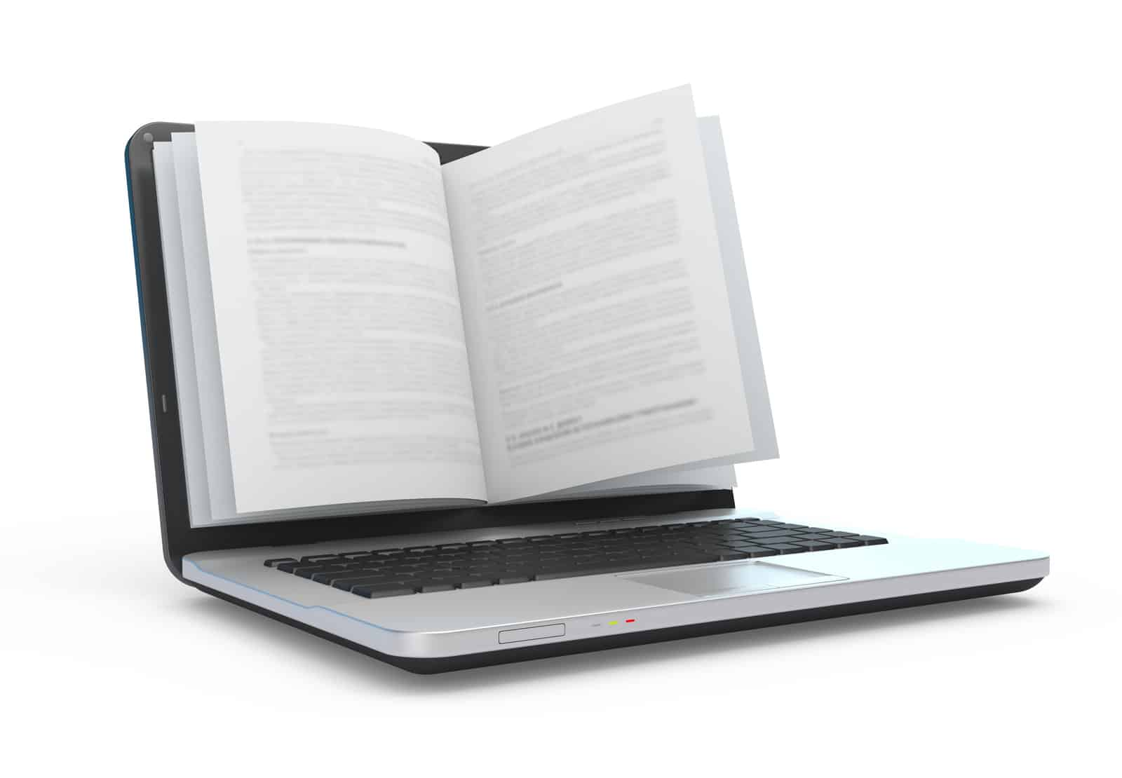 Electronic book. E-reading. E-learning. Laptop with book pages isolated on white..